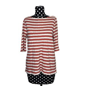 J.Crew Size XL Red + Cream Striped Painters Tee